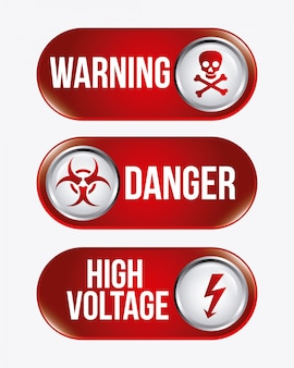 Danger  over white   illustration