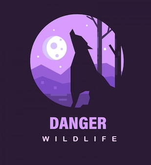 Danger wildlife poster or icon. danger wildlife with werewolf and the moon.