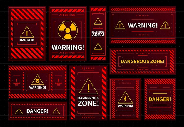 Danger zone warning frames, hud interface alarms