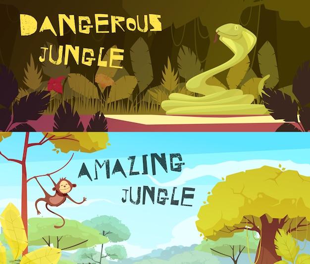 Dangerous and amazing jungle day and night set of horizontal cartoon illustration