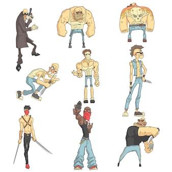Dangerous criminals set of outlined comics style illustrations