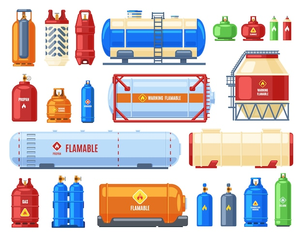 Dangerous gas containers illustration