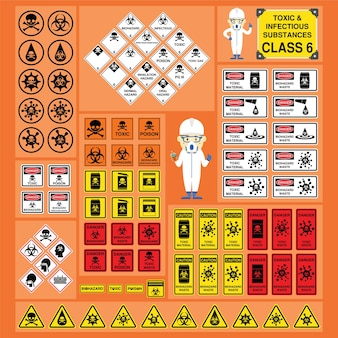 Dangerous goods and hazardous materials set of signs and symbols of toxic and infectious