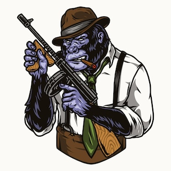 페도라 모자 셔츠 넥타이와 멜빵이 달린 바지를 입은 위험한 고릴라 갱스터