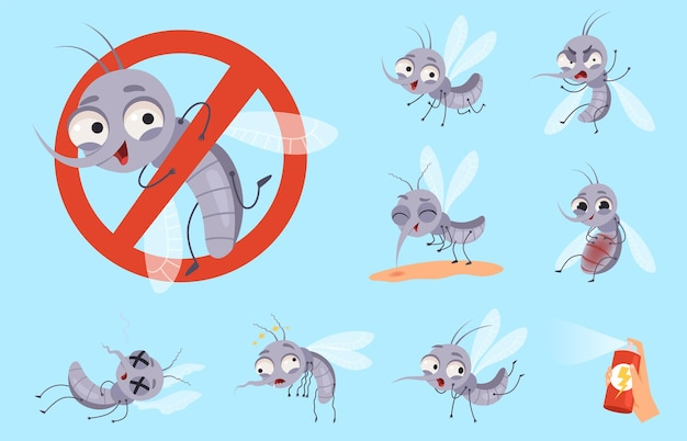 Dangerous mosquito. bugs and warning flyings animals mosquito aid  cartoon set.