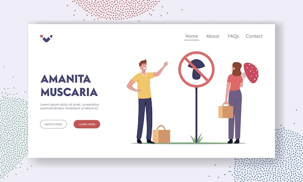 Dangerous plants landing page template. professional mushroomer male character warn amateur or poisonous mushrooms in forest stand near sign with toxic fungus. cartoon people vector illustration