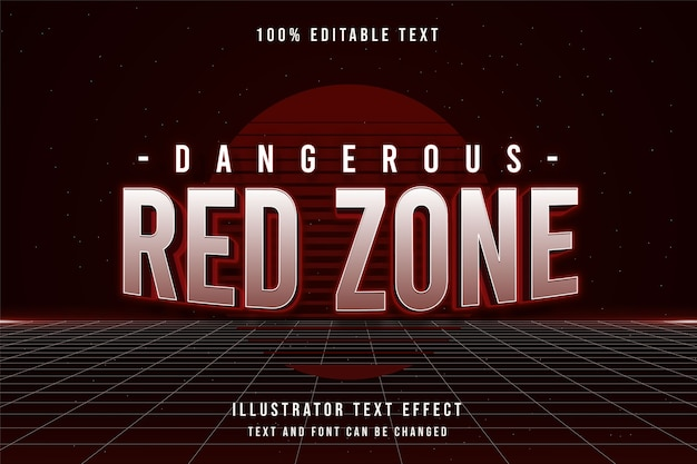 Dangerous red zone,3d editable text effect red gradation 80s neon shadow text style