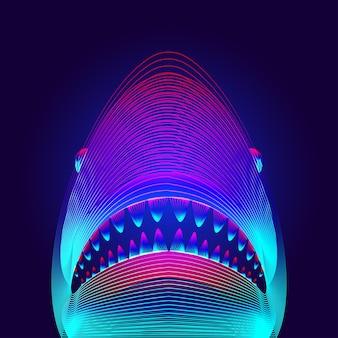 口とあごが開いた危険なサメの頭。ネオン線画スタイルの大きな白またはイタチザメのシルエットの3d仮想ホログラム。水中の海の魚の概要のベクトルデジタルイラスト