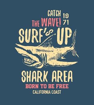 Tシャツやその他の用途のタイプミスのある危険なサメのイラスト。作曲イラスト。