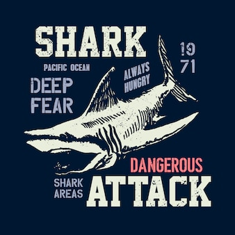 Dangerous shark illustration with typo