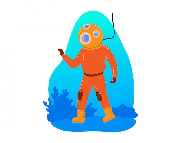 Опасная работа подводного водолаза, исследуйте глубоководный плунжер подводный изолированный на белизне, иллюстрации шаржа. научные исследования моря.