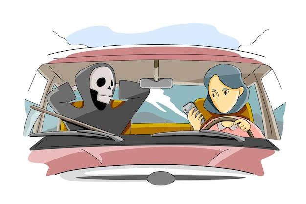 Опасности отправки текстовых сообщений во время вождения концепции