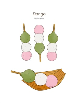 Dango, japanese dango dessert with 3 different colors.