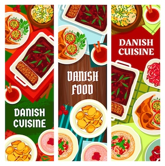 Danish cuisine food banners, scandinavian dishes and denmark meals