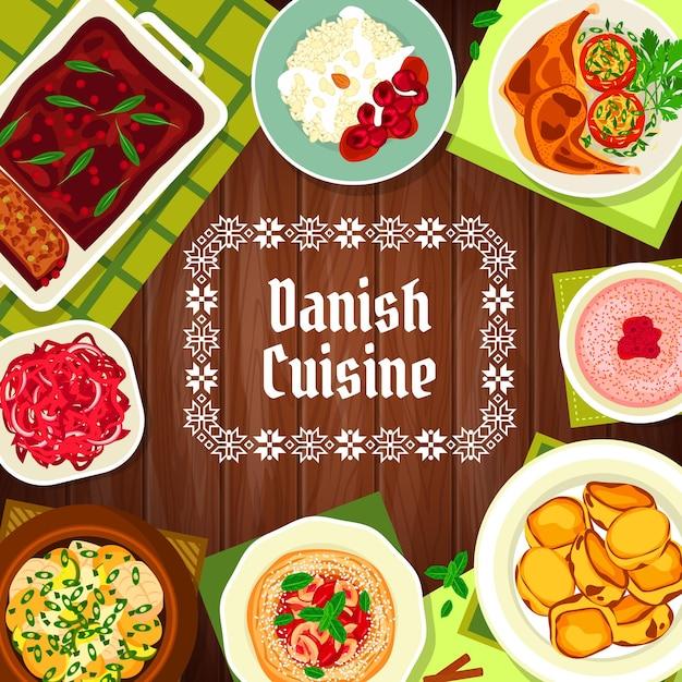 Еда датской кухни, обложка меню ресторана, датские блюда и обеды