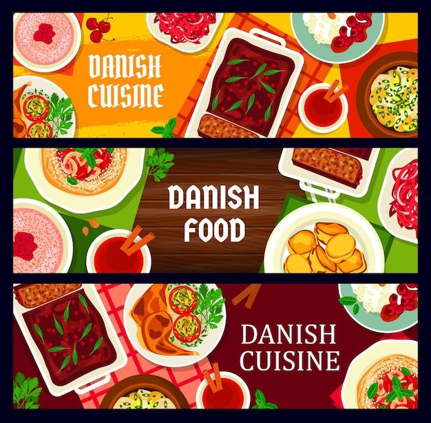 Баннеры датской кухни, скандинавские блюда и традиционные блюда дании