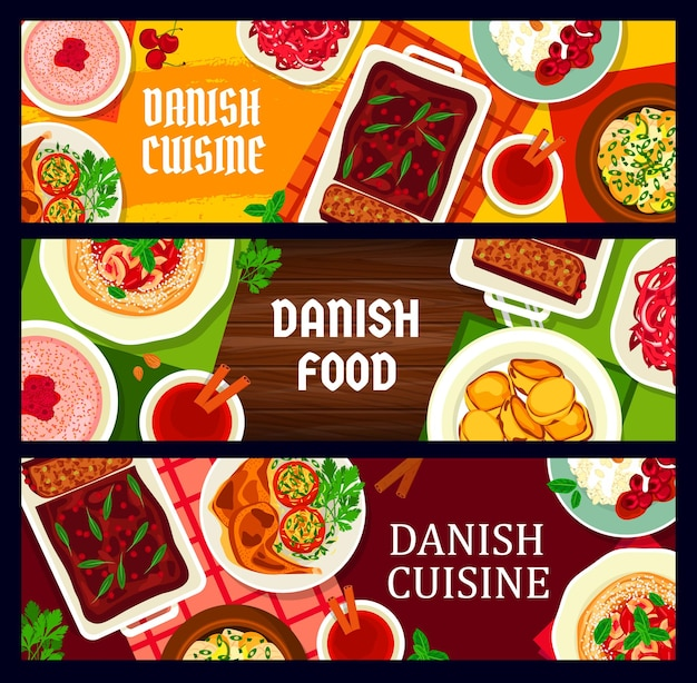 Danish food cuisine banners, scandinavian meals and denmark traditional dishes