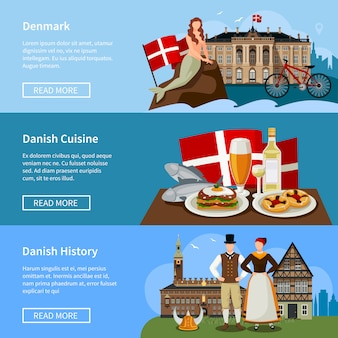 Danish landmarks flat style banners set