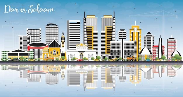 ダルエスサラームタンザニアのスカイライン、色の建物、青い空、反射。ベクトルイラスト。近代建築とビジネス旅行と観光の概念。