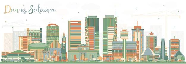 ダルエスサラームタンザニアのスカイラインと色の建物。ベクトルイラスト。近代建築とビジネス旅行と観光の概念。