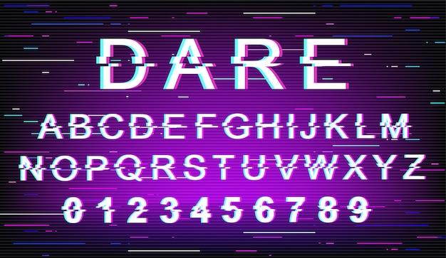 대담한 글리치 글꼴 템플릿입니다. 레트로 미래 스타일 알파벳 보라색 배경 설정입니다. 대문자, 숫자 및 기호. 왜곡 효과로 메시지 서체 디자인 장려