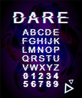감히 글리치 글꼴 템플릿. 레트로 미래 스타일 알파벳 보라색 홀로그램 배경에 설정합니다. 대문자, 숫자 및 기호. 왜곡 효과로 서체 디자인에 도전