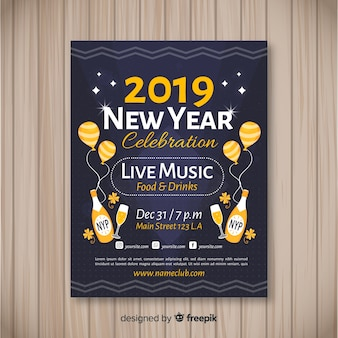 Dark  2019 new year party poster