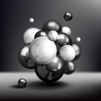 Dark 3d spheres molecule background