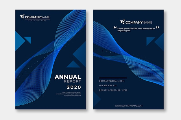 Dark abstract annual report template