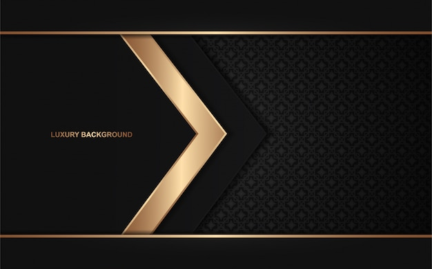 Dark abstract background overlap layers with golden light