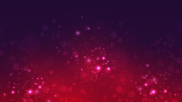 반짝이는 빛이 떠 있는 어두운 추상 배경 벡터입니다.