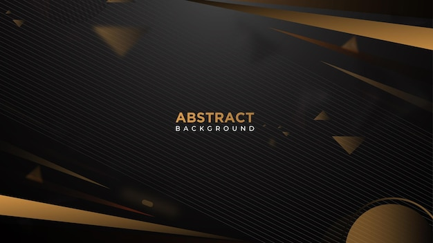 Темный абстрактный фон с черным и золотым, элементы треугольников перекрывают слои. премиум векторы