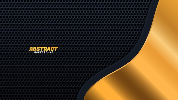 Dark abstract background with black overlap layers. hexagon texture with golden effect element decoration. luxury design concept.
