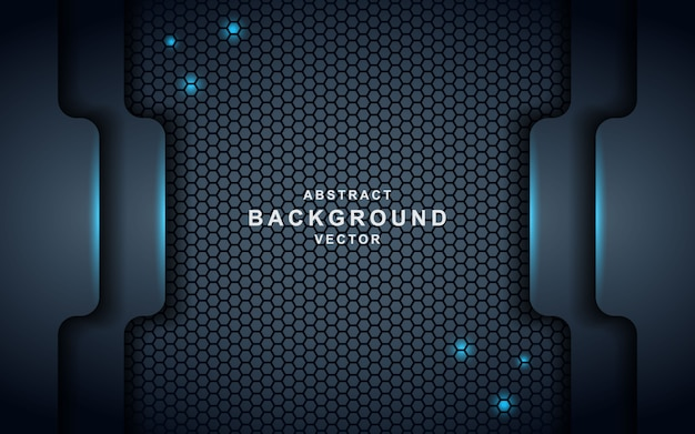 Dark abstract background with black overlap layers. texture with blue effect