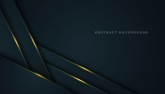 Dark abstract background with black overlap layers. texture with golden effect element decoration.