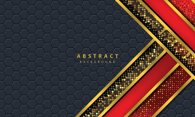 Dark abstract background with black overlap layers. texture with golden line effect element decoration. red background vector.