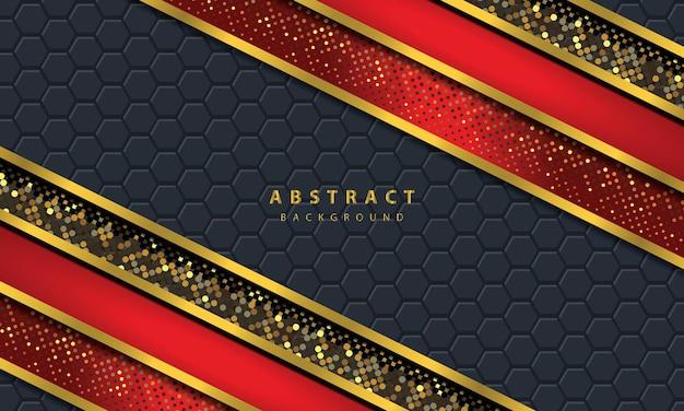 黒のオーバーラップレイヤーと暗い抽象的な背景。金色の線効果要素の装飾が施されたテクスチャ。赤い背景ベクトル。