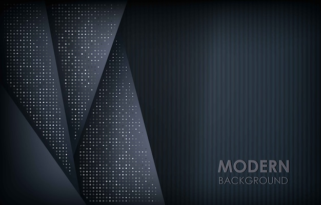 Dark abstract background with black overlap layers. texture with silver glitters dots element decoration