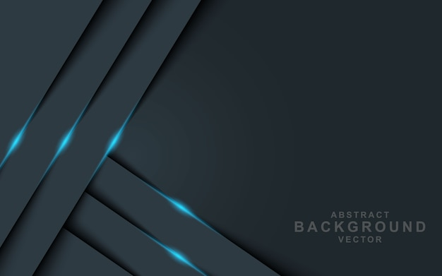Dark abstract background with black overlap layers with blue light effect