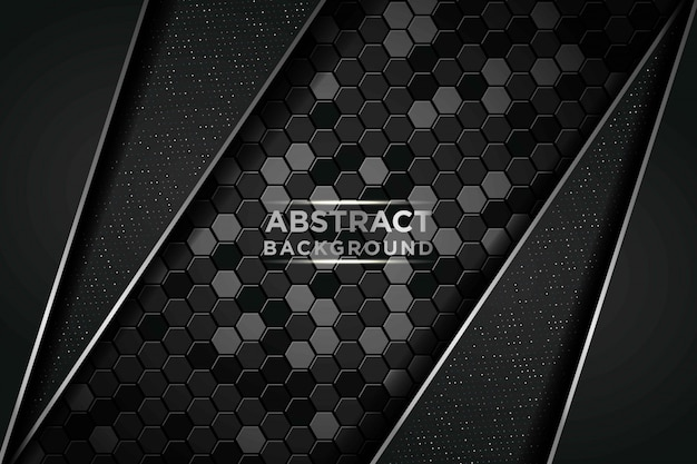 Dark abstract background with circle and black overlap layers. silver list and silver glitters dots element on hexagon textured background
