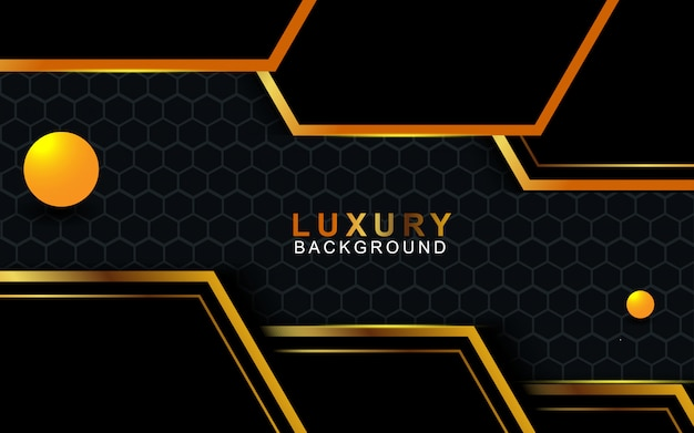 Dark abstract background with gold stripes overlap layers