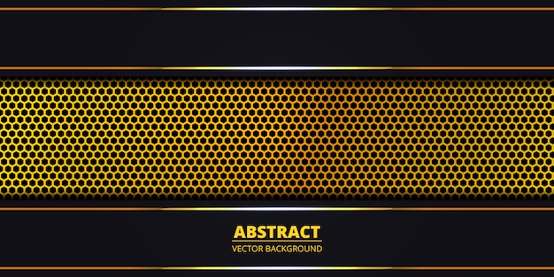 Dark abstract background with golden hexagon carbon fiber. abstract background with golden luminous lines on carbon grid. luxury modern futuristic backdrop. .