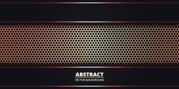 Dark abstract background with golden metallic hexagon carbon fiber. abstract technology background with red luminous lines on carbon grid.