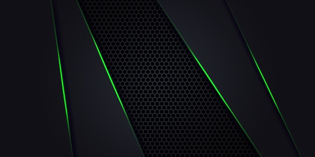Dark abstract background with hexagon carbon fiber. technology background with green luminous lines.