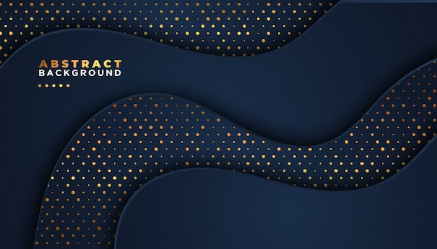 Dark abstract background with overlap layers. golden glitters dots element decoration. luxury design concept.