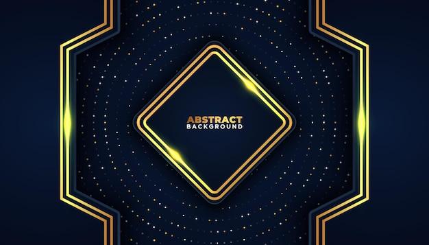 Темный абстрактный фон с перекрывающимися слоями, золотые блестки, точки, элемент декора, роскошная концепция дизайна