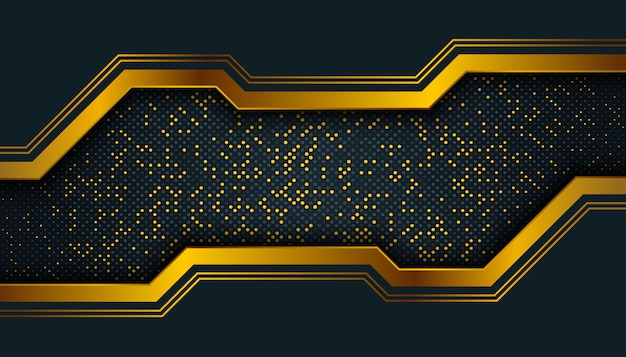 Dark abstract background with overlap layers. golden glitters dots element decoration.