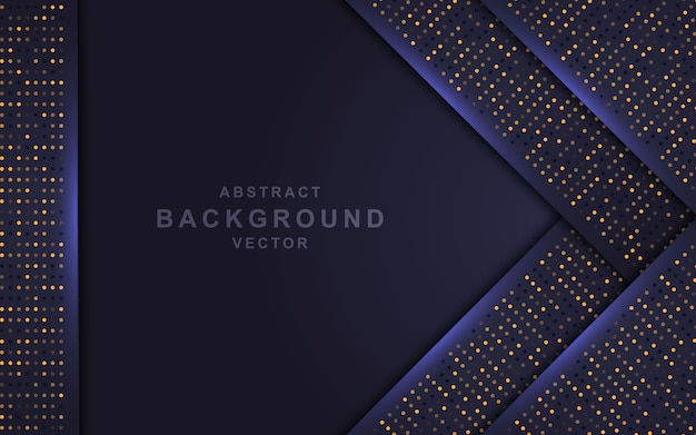 Dark abstract background with overlap layers and golden glitters.