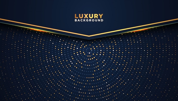 Dark abstract background with overlap layers. luxury design concept. golden glitters dots