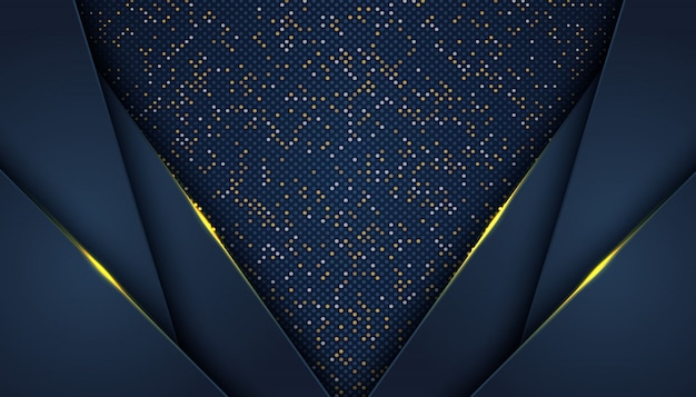 Dark abstract background with overlap layers luxury   golden glitters dots element decoration luxury